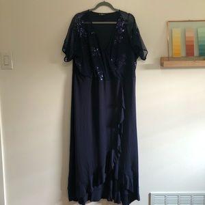 Navy Blue Faux Wrap Dress